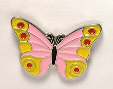 BUTTERFLY - PIN BADGE  - PINK YELLOW ADMIRAL STYLE   (OB-14)