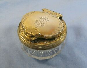 SUPER CLEAN  ANTIQUE VICTORIAN TRAVELLING SILVER GILT LOCKDOWN INKWELL 1853