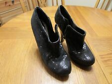 OLSENBOYE Black Sequin Bling Platform Stiletto Heels Booties Boots Size 10M