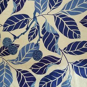 IKEA Stockholm Blad 1 PAIR 2  Curtains Natural Leaves Leaf Unhemmed BLUE 54x92 e
