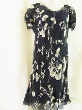 NEWPORT NEWS~ Black & Cream Floral Print ~Semi-Sheer Summer Dress  Size 14  EUC