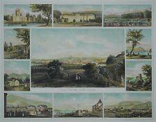 Wien von der Hohen Warthe - Seltenes Souvenirblatt mit 11 Ansichten - 1854