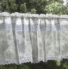Gardine *WHITE FLOWER* SHABBY Bistrogardine ROSEN Scheibengardine TÜLL Landhaus