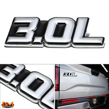 """3.0L""Polished Metal 3D Decal Silver&Black Emblem For Mercedes//BMW/Audi/Jaguar"