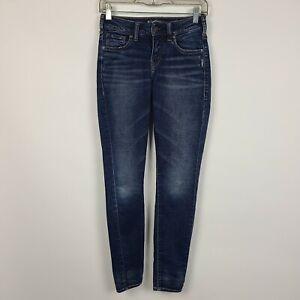 Silver Aiko High Rise Skinny Fluid Joga Womens Dark Wash Jeans Size 25x31