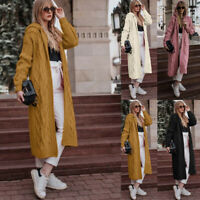 Womens Hoodie Knitted Cardigan Jacket Ladies Hooded Long Sweater Coat Outwear
