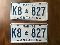 ONTARIO LICENSE PLATE 1979 K8 827 SET PAIR VINTAGE CANADA CAR SIGN