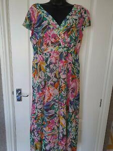 Per Una M&S Pink Multicoloured Floral Dress Size 14L