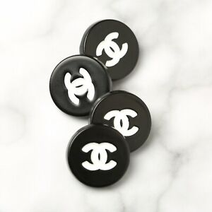 Chanel Buttons STAMPED 4pc CC Black & White15mm Vintage Style 4 Buttons AUTH!!!