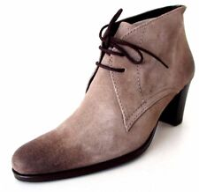 BOTTINES DERBIES TALON 38 derby cuir daim vieilli taupe ALICIA KAPRI femme NEUF