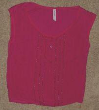EUC Aeropostale Pink Sequin Knit Top Size L Large