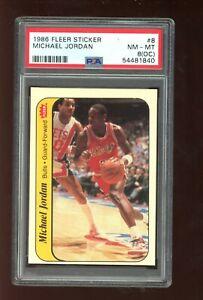 1986-87 Fleer Sticker #8 Michael Jordan PSA 8OC Rookie RC
