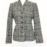 Pendleton Wool Black White Plaid Boucle Wool Jacket Blazer 8