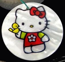 40mm Disney Hello Kitty  Mother Of  Pearl Disc Pendant Bead