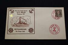NAVAL COVER 1940 SHIP CANCEL 1ST DAY POSTAL SERVICE USS WELLES (DD-257) (2375)