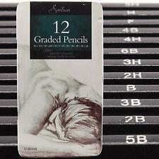 12 Crayons Art classés croquis Tin cas H, B dessin / nuances / Light / Dark uk post