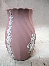 Wedgwood Jasperware Pink Vase Scalloped Rim W102