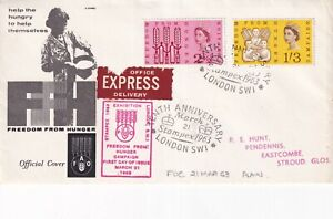 21 MARCH 1963 FREEDOM FROM HUNGER NON PHOSPHOR FIRST DAY COVER STAMPEX 1963