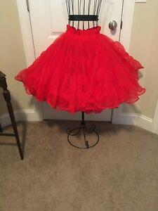 Red Square Dance Petticoat Crinoline size medium