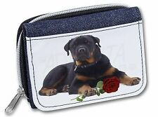 Rottweiler Dog with a Red Rose Girls/Ladies Denim Purse Wallet Christ, AD-RW3RJW