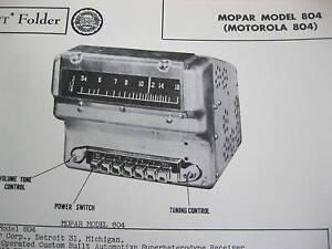 1948, 1949,1950 CHRYSLER, PLYMOUTH, DODGE, DESOTO 804 MOPAR RADIO PHOTOFACT