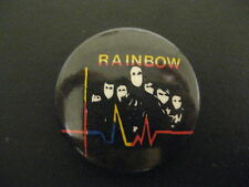 Rainbow Band-Multi-Color-Small-Rock-Music-Button-80's Vintage-Rare