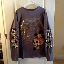 CHRISTIAN AUDIGIER ED HARDY SKULL PLATINUM DEATH BEFORE DISHONOR T SHIRT  L