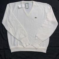 Vtg Izod Lacoste White Cream Acrylic Pullover V-Neck Sweater Men's Size Large
