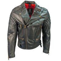 Richa Triple Quilted Vintage Leather Motorcycle Jacket - Black