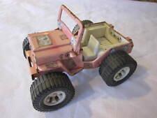 Vintage 1968 Louis Marx Girls Pink Toy Jeep Pressed Steel Hard Plastic Wheels