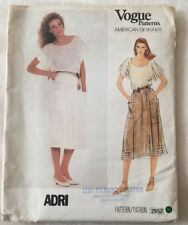 Vogue 2952 Sewing Pattern American Designer ADRI Top Skirt Pattern Size 10  UC