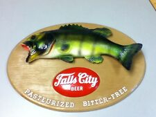 Falls City beer sign fish fishing chalkware wall plaque vintage chalk sport HR3