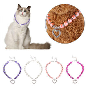 Poodle Multi Color Pearl Plays Jewelry Cat Collar Pet Necklace Dog Collars