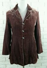 J Jill Crushed Velvet Duster Jacket 10P Blackberry Plum Long