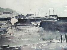 Aberaeron Harbour Wales landscape Original Watercolour Painting 401