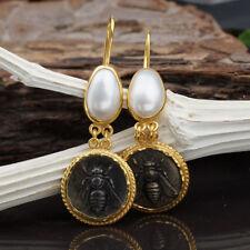 925k Sterling Silver Bee Coin & Pearl Earrings Roman Art Turkish Jewelry By Omer
