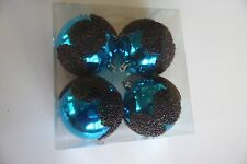 4 Turquoise Beaded Christmas Shatter Resistant 3 Inch Ornaments Decorations