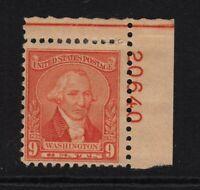 1932 Washington 9c Sc 714 plate number MHR Hebert CV $12