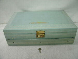 JEWELRY BOX---by Mele--Aqua Faux Leather--with Draw-& Key---Vintage/Original