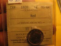Canada 1939 ICCS Certified MS-64 Gem Small Cent Penny IDJ2.