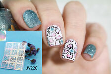 12 Tips/Sheet Nail Art Vinyls Flower Print Nail Stencil Holo Nail Stickers JV220