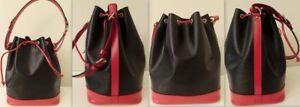 Original LOUIS VUITTON NOE Balck/Red Epi Leather Shoulder Bag