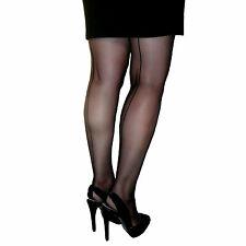 Essexee Legs Cuban Heel Tights Black seamed Size: Large 88% Nylon 12% Elastane