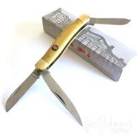 Robert Klaas Kissing Crane Medium Stockman 440 SS Blades Yellow Delrin Handle