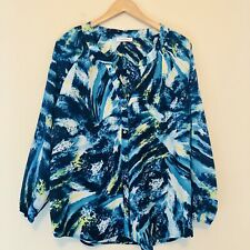 Calvin Klein Womens Large Long Sleeve Blouse Blue Watercolor Button Down Top 588