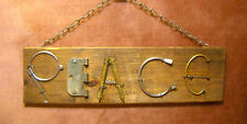 """Reclaimed Recycle Metal & Wood Yard STEAM PUNK Art Wall Sign  19"""" x 5 1/2"""" PEACE"""