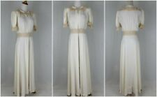 TULA 1930's Bias Cut Peignoir Gown Ivory Silky Rayon & Ecru French Lace WWII S