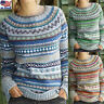 Women Boho Crew Neck Long Sleeve Sweater Loose Knit Pullover Jumper Tops S-XXXL