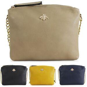 Women's Ladies Crossbody Strap Gold bee Messenger Over Shoulder Bag New