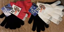 WOMEN'S 2 Pair Black & White or Balck & Pink MAGICAL FINGERS TOUCH SCREEN GLOVES